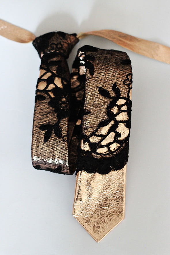 boho wedding prom men's rose gold  black leather and lace slim neck tie. It is prettied with good standing knot and attached with adjustable strap in rose gold.rose gold and black lace leather bow tie for prom wedding groomsmen gift