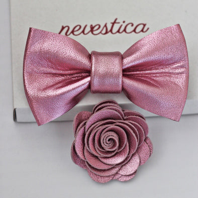 pink wedding bow tie and flower set for men groomsmen, prom