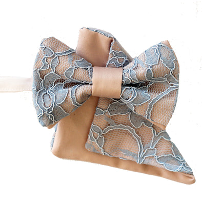 blush dusty pink and dusty blue sky lace bow tie and pocket square wedding prom mens groomsmen set