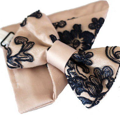 Navy blue lace and blush pink bow tie set