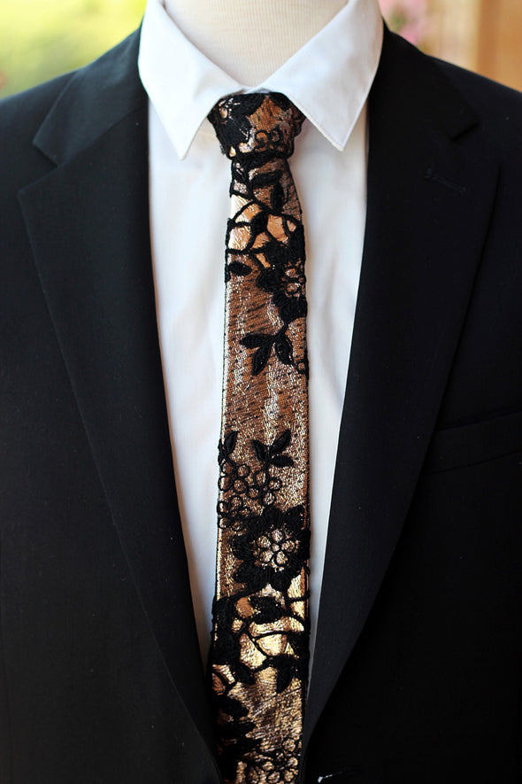 rose gold and black lace leather bow tie for prom wedding groomsmen gift