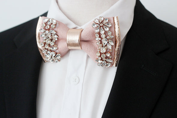 Rose gold crystal pink blush leather bow tie set