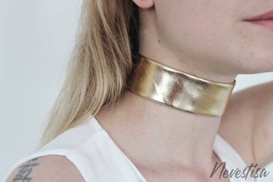 Rose gold genuine thick leather choker. Womens leather boho jewellery, silver, champagne gold necklace.