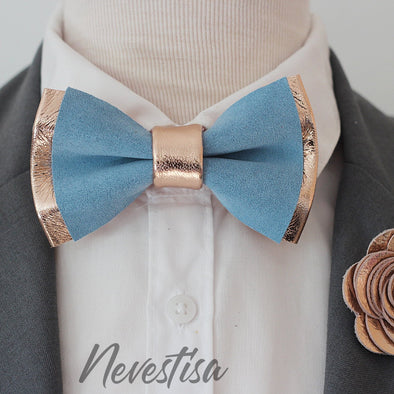 Dusty icy blue leather bow tie groomsmen groom wedding attire prom set rose gold corsage boutonniere
