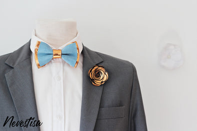 copper and dusty light blue bow tie lapel flower  set, copper rust color wedding ideas