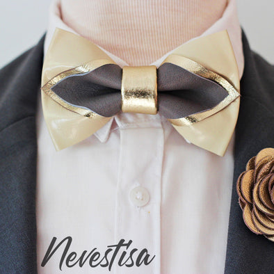 Champagne gold and ivory pointed leather bow tie set wedding prom color scheme palette