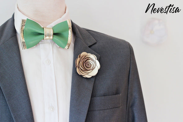 Mint green and champagne leather bow tie set