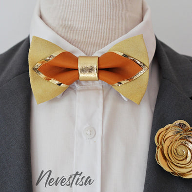wedding color trend 2020 champagne gold leather and mustard yellow bow tie wedding prom set