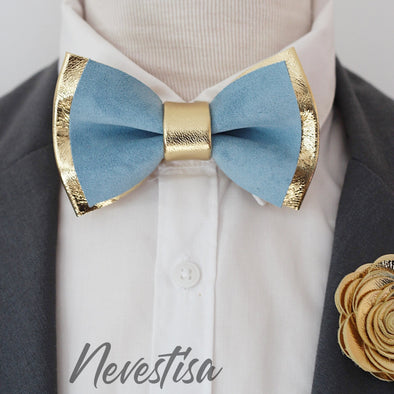 Dusty icy blue leather bow tie groomsmen groom wedding attire prom set gold corsage boutonniere