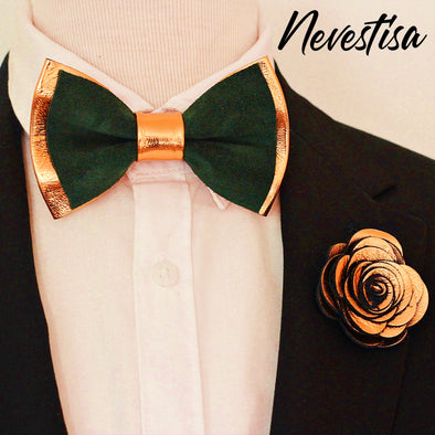 copper and kelly hunters green mens bow tie and lapel flower pin, boutonniere , suspenders set, groomsmen gift, groom formal attire, wedding, prom, copper, rust brown ideas
