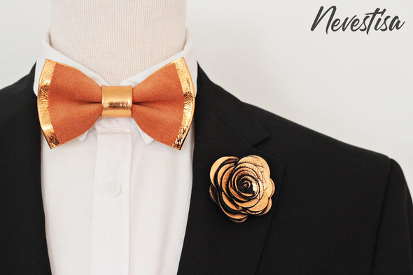 fall rust color and copper wedding prom bow tie lapel flower pin boutnniere set, groomsmen, groom, elopement ideas, gift