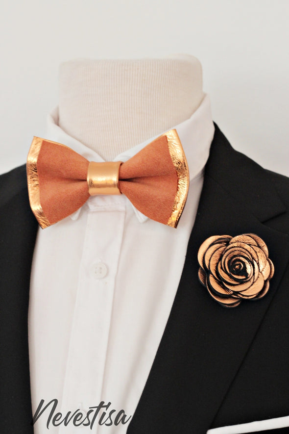 fall rust color and copper wedding prom bow tie lapel flower pin boutnniere set, groomsmen, groom, elopement ideas, gift burnt orange