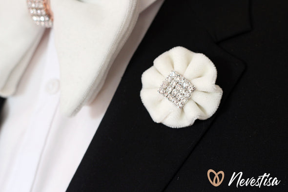 White velvet oversize bow tie and boutonniere set with crystals