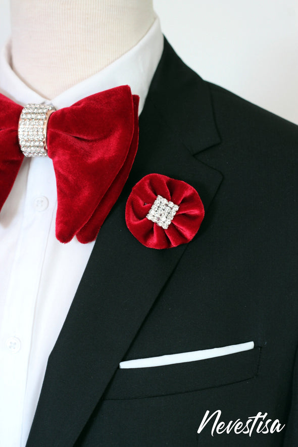 Burgundy deep red velvet oversize bow tie with gold crystals, groomsmen groom wedding attire bow tie set, prom formal