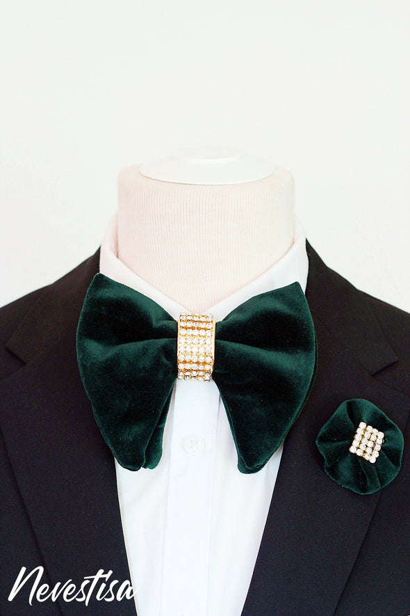 Hunters green velvet oversize bow tie with gold crystals groom groomsmen formal attire prom boys bow tie set lapel flower Kelly green boutonniere