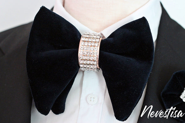 mens formal Black velvet oversized butterfly style bow tie with rose gold crystals center mens groomsmen groom prom bow tie set formal groom groomsmen attire