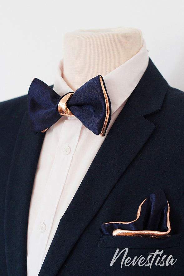 Navy blue and Gold mens satin leather bow tie set, groom groomsmen gift,formal attire, gold wedding bow tie, gold bow tie, boys prom bow tie, Nevestica Nevestisa Europe made quality and unique mens accessories design.