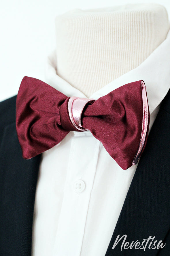 Mens satin formal bow tie gift set of 3 bowties in burguny red, gray and violet