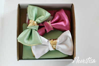 Mens satin formal bow tie gift set of 3 bowties in gold and grass green, white and pink