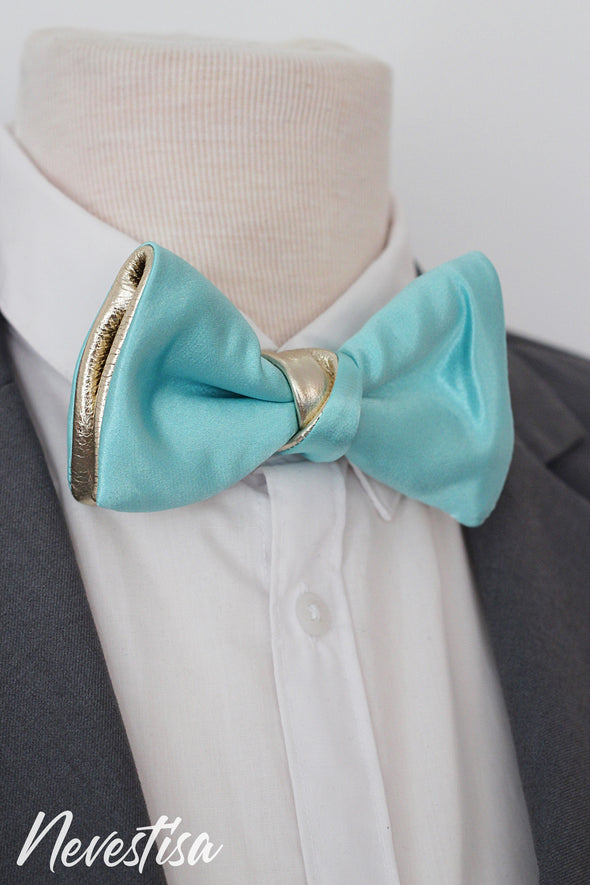 Champagne Gold and tiffany blue satin bow tie for men,boys dusty light blue, wedding bow tie,wedding formal attire, groomsmen gift prom