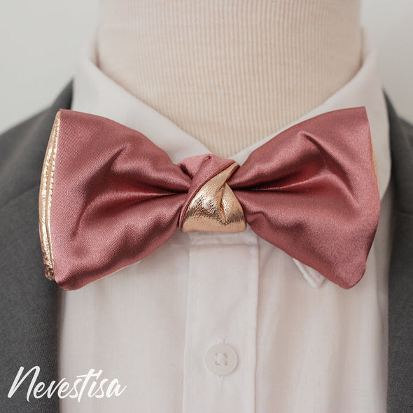 Mens satin formal bow tie gift set of 3 bowties in light aqua blue and dusty rose pink