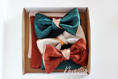 Mens satin formal bow tie gift set of 3 bowties in kelly green, white and rust color
