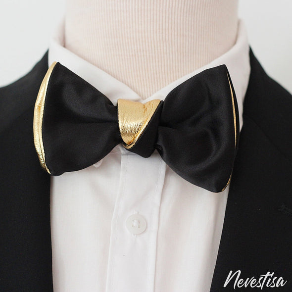 Black and Gold mens leather bow tie for men, gold wedding bow tie black satin bowtie gold bow tie formal attire groomsmen gift set boys prom