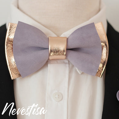 lavender suede and rose gold leather bow tie men, weddning prom set