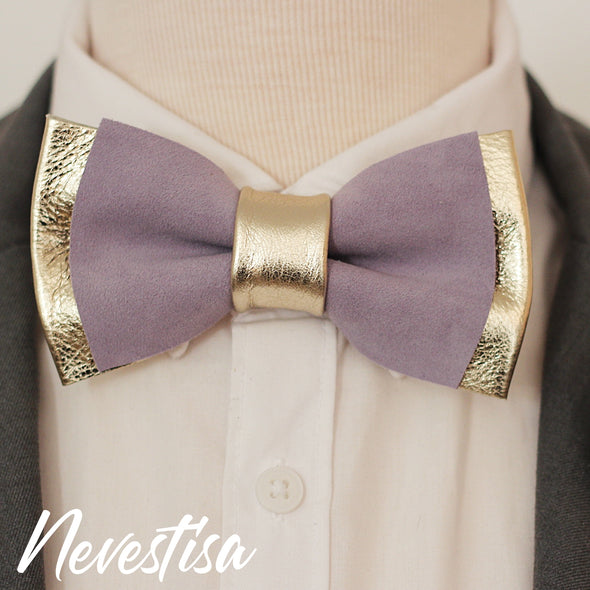 Champagne and lavender leather bow tie set