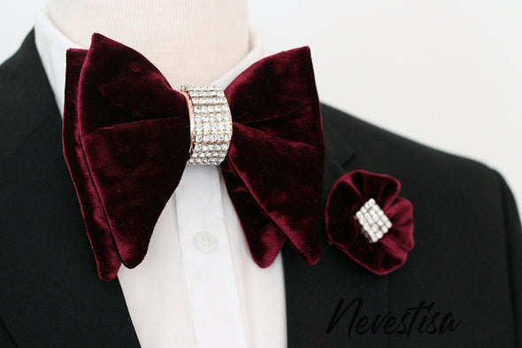 Deep Purple violet VELVET Tie Prettied oversize Bow Tie set, boho wedding Rose Gold Bow Tie, boutonniere Bow Tie velvet Groom prom purple crystal boutonniere, lapel flower pin set, groomsmen gift, formal attire