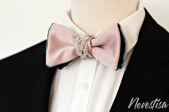 Rose Gold nude satin Tie Prettied regular Bow Tie set for men light pink, baby pink wedding set, groomsmen formal attire, Rose Gold BowTie pocket square Bow Tie, crystal satin Groom prom blush light Rose Pink prom boys bow tie set, crystal set for men, elegant formal attire, suit