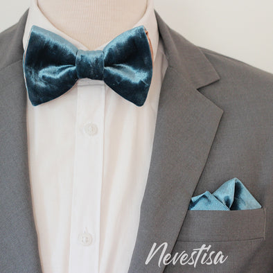 Teal, french blue velvet bow tie