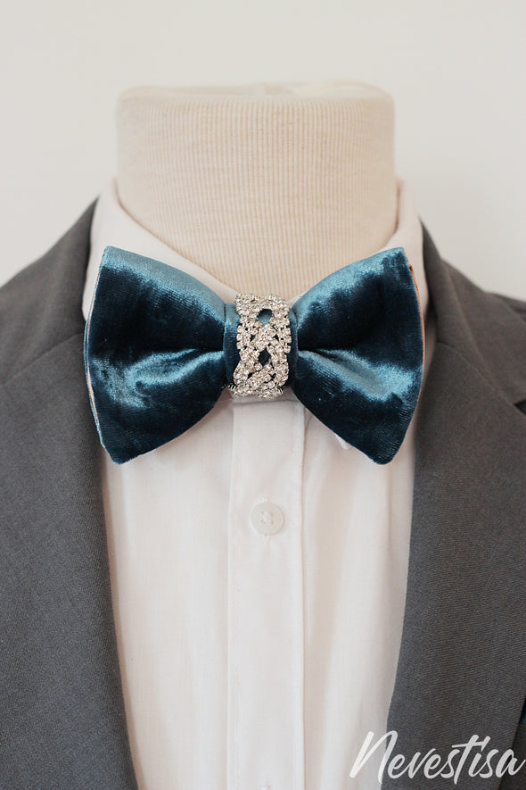 Teal blue gold VELVET Tie Prettied regular size Bow Tie royal classic blue lapel flower classic blue Bow Tie, velvet Groomsmen suit formal attire, french blue, bow tie lapel pin men formal attire, gold rust brown wedding accessories, lapel flower pin, boutonniere gold oversize bow ties for men rust boutonniere fall wedding, crystals, prom groom nevestica nevestisa design