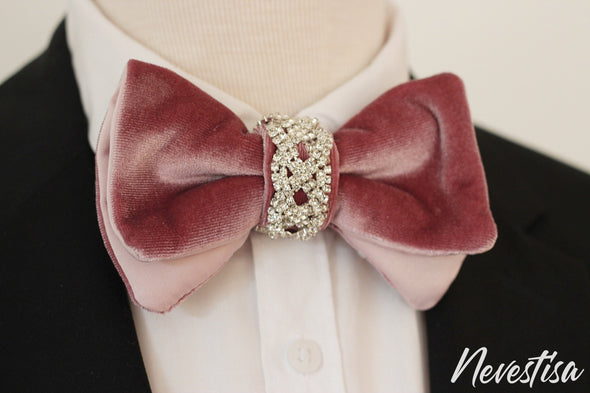 Rose Gold nude VELVET Tie Prettied over sized Bow Tie set for men light pink, baby pink wedding set, groomsmen formal attire, Rose Gold BowTie pocket square Bow Tie, velvet Groom prom blush light Rose Pink prom boys bow tie set, crystal set for men, elegant formal attire, suit