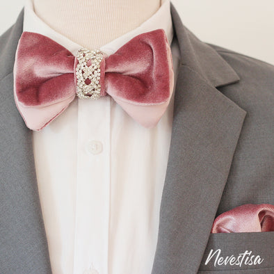 Rose Gold nude VELVET Tie Prettied regular Bow Tie set for men light pink, baby pink wedding set, groomsmen formal attire, Rose Gold BowTie pocket square Bow Tie, velvet Groom prom blush light Rose Pink prom boys bow tie set, crystal set for men, elegant formal attire, suit
