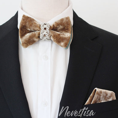 gold VELVET Tie Prettied Bow Tie set for men, mens boutonniere light taupe brawn rustic lapel flower. crystal Bow Tie, velvet Groomsmen suit formal attire, butterfly bow tie lapel pin set gold oversize bow ties for men rust boutonniere fall wedding, gold crystals, prom groomsmen formal attire, gold rust brown wedding accessories, lapel flower pin, boutonniere, boho wedding style ideas, champagne copper