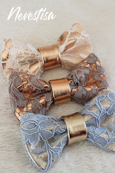 Lace and rose gold leather bow tie mens wedding set, groomsmen rose gold gift, pocket square. Boys prom set, Rose Gold  lace leather bow tie for men,boys rose gold wedding bow tie, boutonniere, genuine gold leather bow tie, gray lace set, prom bow tie, groomsmen wedding gift attire, nevestica nevestisa design, boho wedding design, lace prom wedding dress