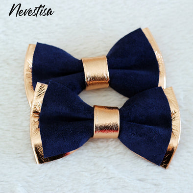 navy classic blue rose Gold copper leather bow tie, lapel flower wedding prom groomsmen groom formal attire set, Navy blue and rose Gold mens leather bow tie for men, rose gold wedding bow tie, genuine leather bowtie, gold groomsmen attire gift toddler, copper boys prom, gold boutonniere, nevestica nevestisa design