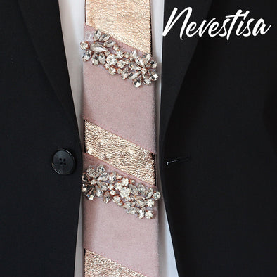 Rose gold neck tie, groomsmen neck tie, dusty pink neck tie for formal attire, rose gold sequin bow tie, leather neck tie, copper neck tie with crystals and blush pink stripes, wedding neck tie, nevestica nevestisa design