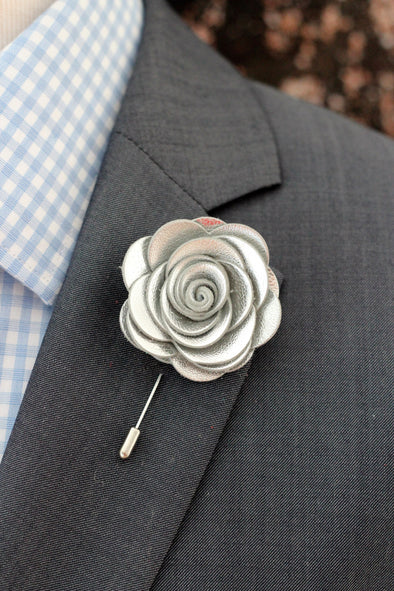 silver leather bow tie and lapel flower boutonniere set