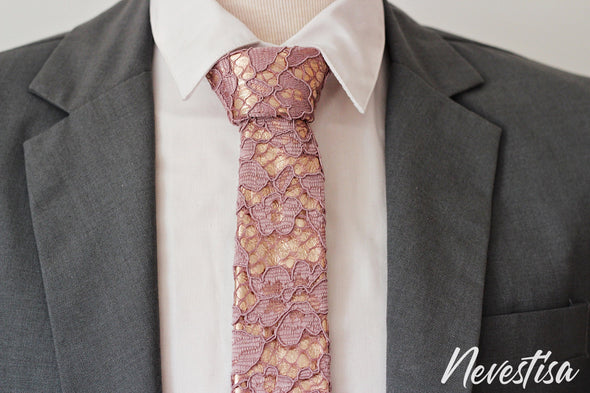 Dusty pink, copper lilac mens necktie rose gold mens wedding set, groomsmen formal wedding attire rose gold gift, pocket square. Boys prom set.
