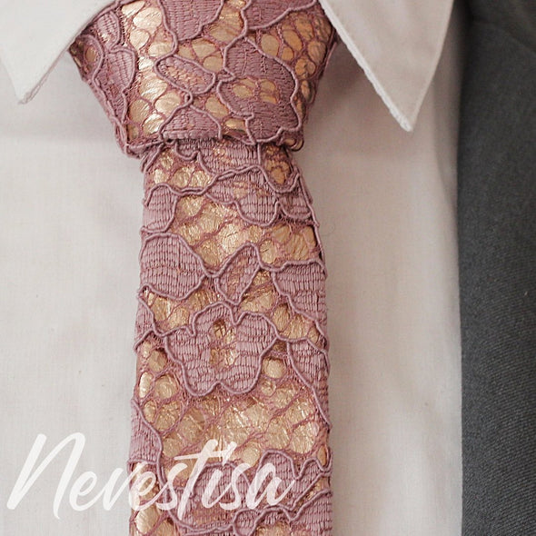 copper lilac mens necktie rose gold mens wedding set, groomsmen formal wedding attire rose gold gift, pocket square. Boys prom set.