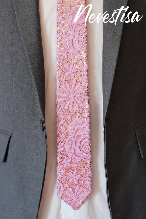 light pink lace necktie on rose gold base mens wedding setLace dusty baby pink bow tie mens wedding set neck tie, groomsmen formal wedding attire rose gold gift, pocket square. Boys prom set.