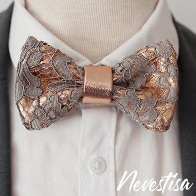 Dusty pink rose pink blush pink Lace and rose gold leather bow tie mens wedding set, copper suspenders, pocket square,taupe lapel flower boutonniere pin, groomsmen rose gold gift, pocket square. Boys prom set, Rose Gold  lace leather bow tie for men, taupe boys rose gold wedding bow tie, boutonniere, genuine gold leather bow tie, blush pink