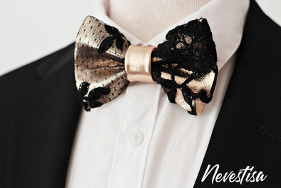 Black Lace and rose gold leather formal bow tie for men