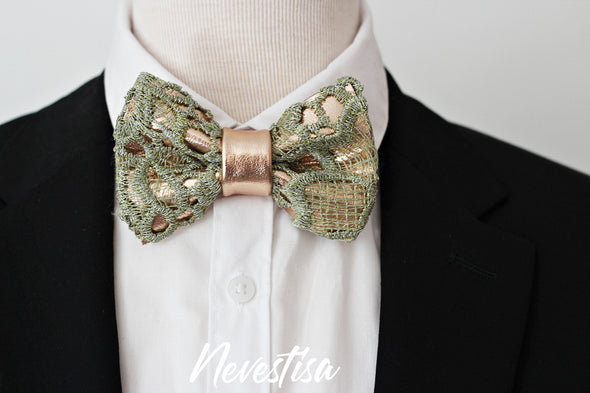 Lace rose gold bow tie for men