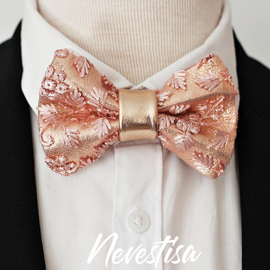 Dusty pink rose pink blsh pink Lace and rose gold leather bow tie mens wedding set, suspenders, pocket square, lapel flower boutonniere pin, groomsmen rose gold gift, pocket square. Boys prom set, Rose Gold  lace leather bow tie for men,boys rose gold wedding bow tie, boutonniere, genuine gold leather bow tie, blush pink lace set, prom bow tie, groomsmen wedding gift set for formal attire, nevestica nevestisa design, boho wedding design, dusty pink lace prom wedding dress