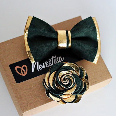 kelly forest green and gold combination bow tie, lapel flower pin, boutonniere, bowtie gift set, wedding prom corasge