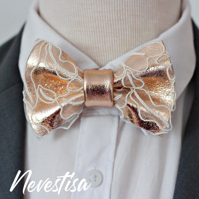 rose gold copper bow tie set combined with white lace, mens bow tie, weddin prom gift