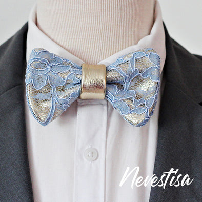 champagne gold leather and dusty pink lace mens bow tie set, wedding prom